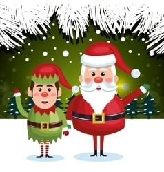 greeting card christmas santa elf green background vector image