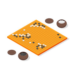 japanese board game go concept 3d isometric view vector image vector image