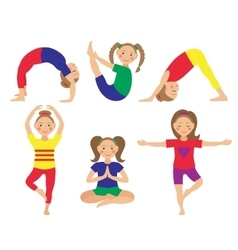 kid yoga positions vector image