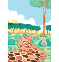 landscape with coloured tiled road vector image vector image