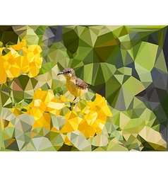 Low poly geometric of little bird on yellow flower vector image vector image