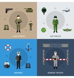 Military Flat Set vector image
