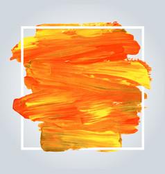 orange acrylic background with white frame vector image vector image