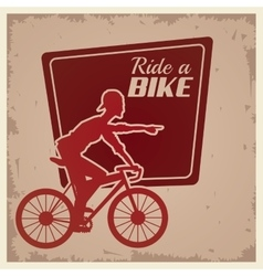 poster vintage ride a bike cyclist silhouette vector image