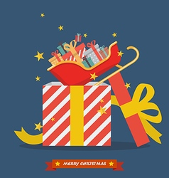 Santa sleigh out of big gift box vector image