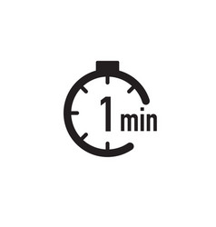 1 minute timer stopwatch or countdown icon time vector