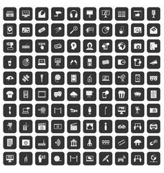 100 multimedia icons set black vector image