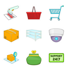 Admission icons set cartoon style vector