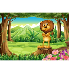 An angry lion standing above the stump vector