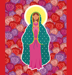 Assumption beautiful mary virgin with roses vector