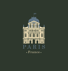 Banner with french national museum louvre in paris vector