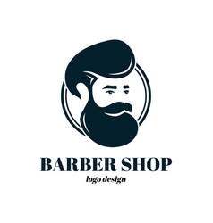 barber shop template logo design vector image