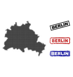 Berlin city map in halftone dot style with grunge vector