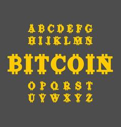 bitcoin font cryptocurrency alphabet web money vector image