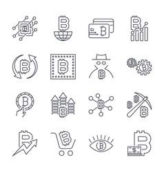 Blockchain cryptocurrency icons set editable vector