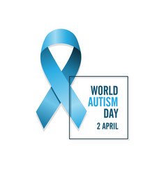blue autism ribbon and date international autism vector image