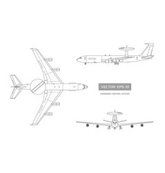blueprint of military aircraft top front side vector image