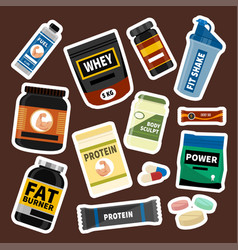 bodybuilders gym athlete sport food diet symbols vector image