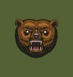 Brown grizzly bear wild animal vintage vector