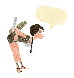 cartoon viking girl bowing with speech bubble vector image