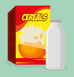 Cereal packing box with milk bottle vector