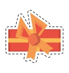 Colored gift box decorative orange bow line dotted vector