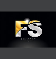 combination letter fs f s alphabet with gold vector image