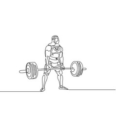 continuous one line drawing athlete perform vector image