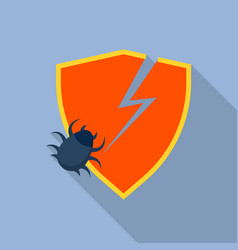 crack security shield icon flat style vector image