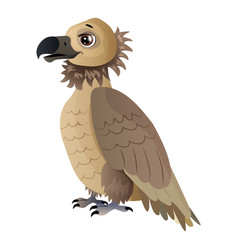Cute cartoon vulture isolated on white vector