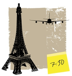 eiffel tower and plane vector image