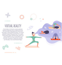 excited girl in virtual reality doing yoga vector image