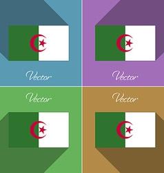 Flags Algeria Set of colors flat design and long vector