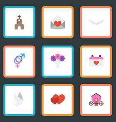 flat icons card calendar pigeon and other vector image