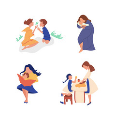 flat set mom with son spends time vector image