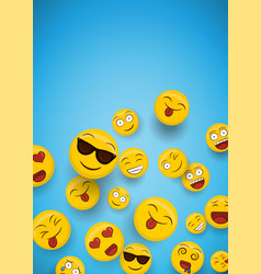 Fun smiley face icons copy space background vector