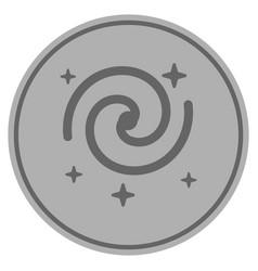 Galaxy stars silver coin vector