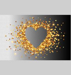 golden hearts confetti heart shape frame vector image