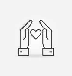 hands with heart icon or logo element in vector image