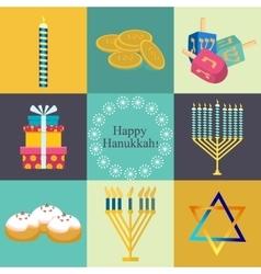 Hanukkah traditional symbols jewish icons set vector