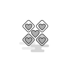 hearts blocks web icon flat line filled gray icon vector image