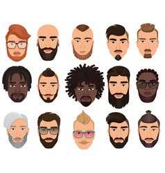 Hipsters stylish bearded men with different color vector