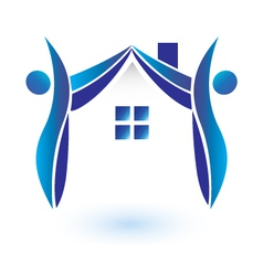 House and figures logo vector