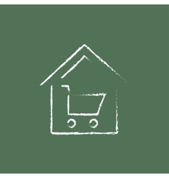 House shopping icon drawn in chalk vector image