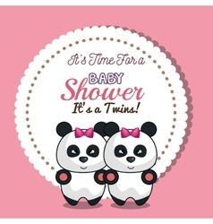 invitation twins girl panda baby shower card vector image