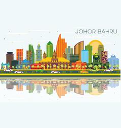 Johor bahru malaysia city skyline with color vector