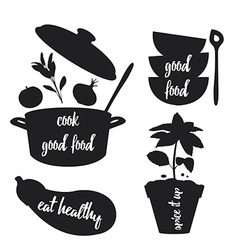 Kitchen related silhouettes with text vector