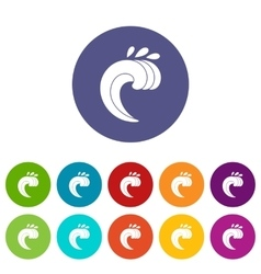 Large curling wave set icons vector