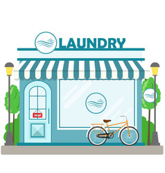 laundry building facade with bicycle vector image