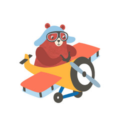 Little bear on airplane flat vector